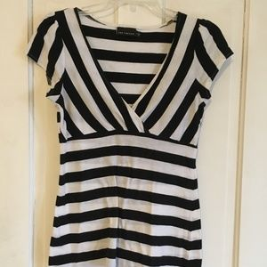 The Limited Black and White Striped Shirt - Small